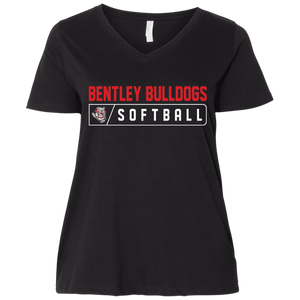 Lady Bulldogs Bar Logo (Red) Ladies' Curvy V-Neck T-Shirt