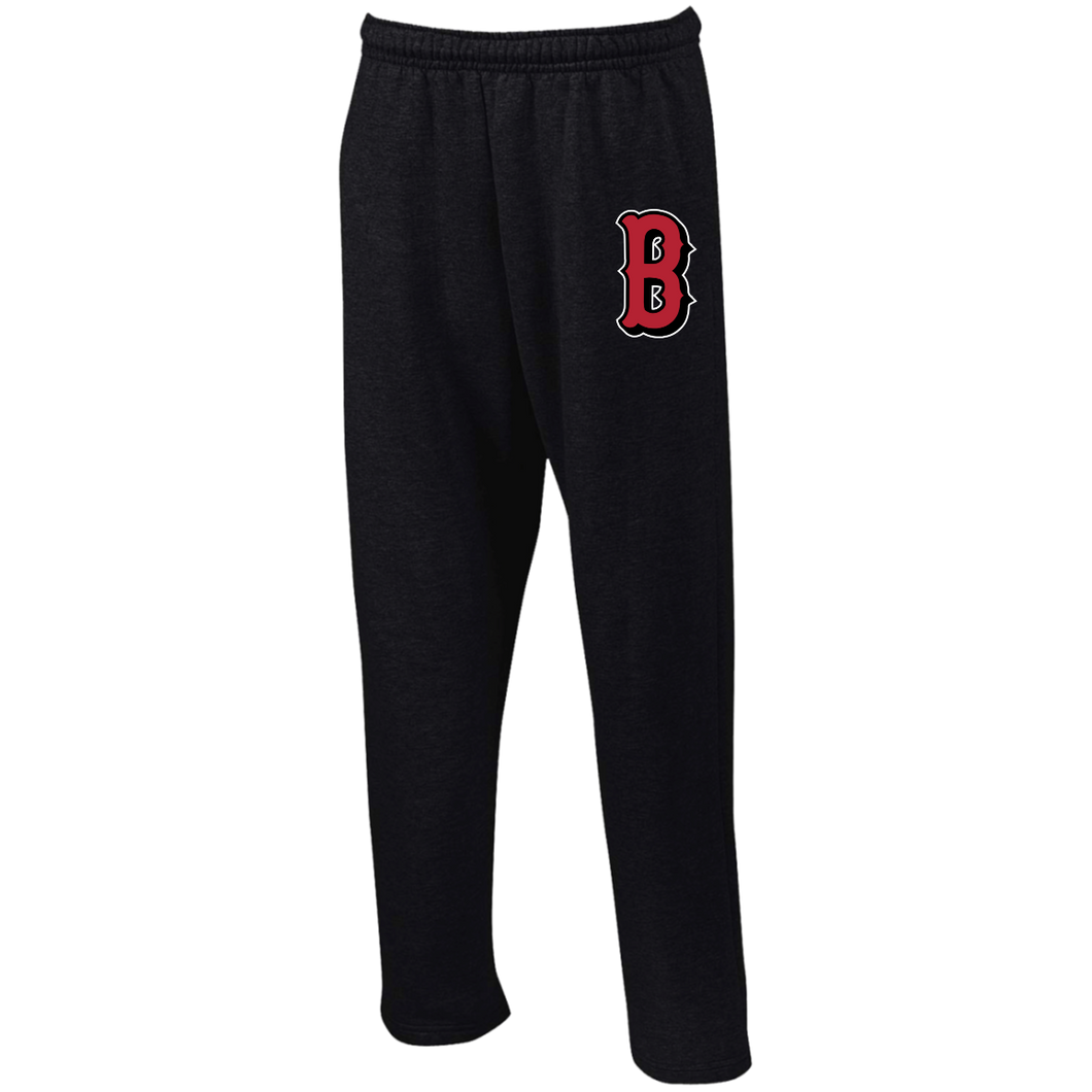 B (Red) Open Bottom Sweatpants with Pockets