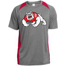 Load image into Gallery viewer, Bulldog Logo  Heather Colorblock Poly T-Shirt