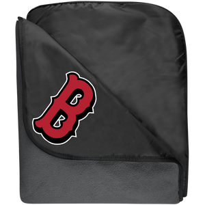 Lady Bulldogs B Logo (Red) Fleece & Poly Travel Blanket