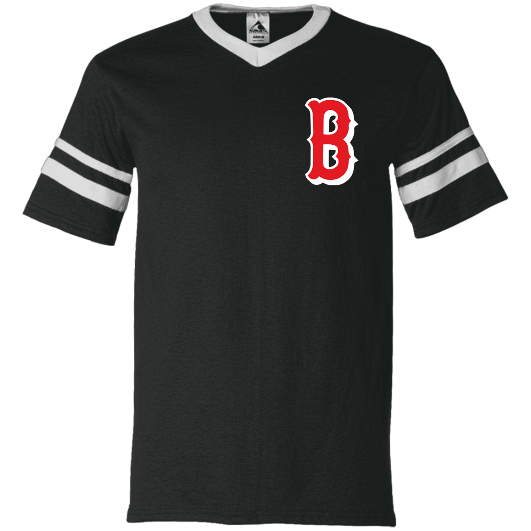 B Logo  V-Neck Sleeve Stripe Jersey