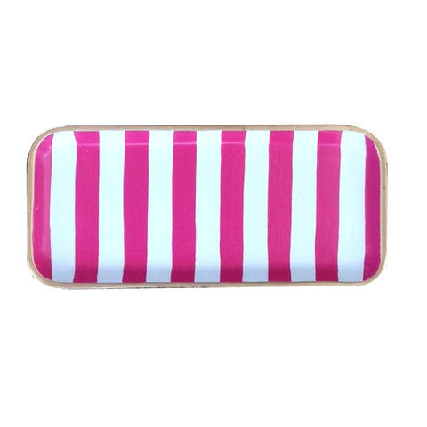 Pink/White Striped Tray