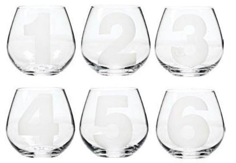 Numbered Stemless Wine Glasses