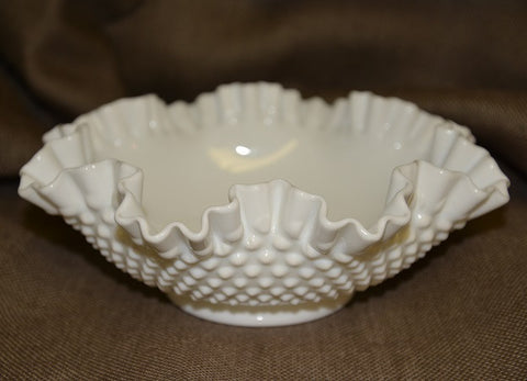 Ruffled Hobnail Milk Glass Bowl