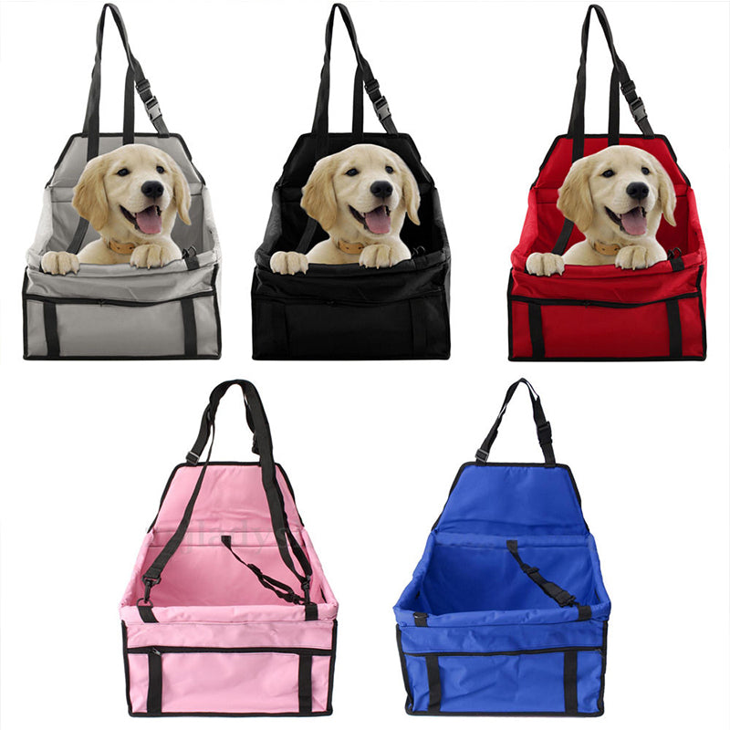 Portable Pet Dog Car Carrier Seat Bag Seat Belt Booster Waterproof Basket Safety Mesh Hanging Bag
