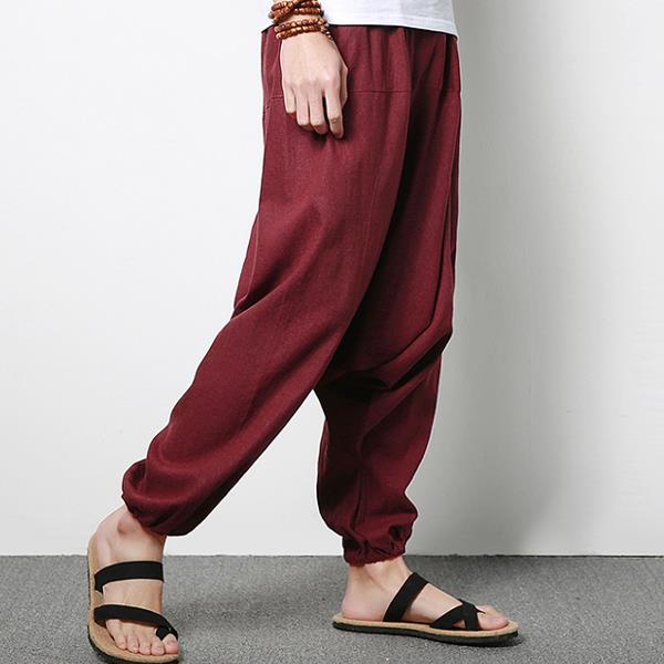 Men's Cotton Linen Harem Pants Casual Baggy Loose Trousers Fashion Wide Legs Trousers