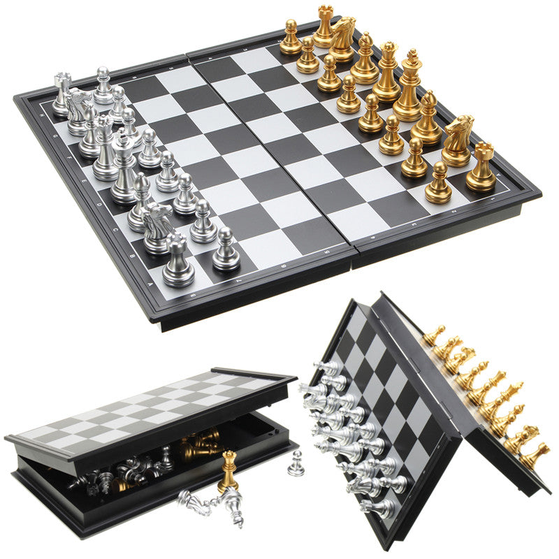 Chess Aces™ Discounted Chess Game Silver Gold Pieces Folding Magnetic Foldable Board Set