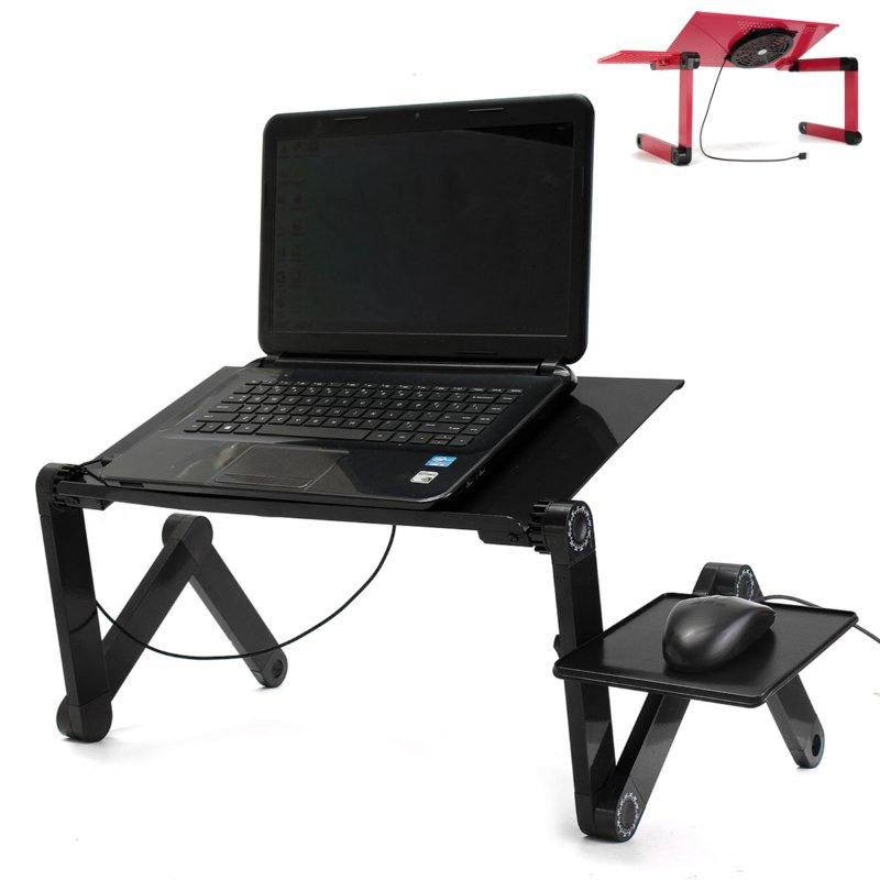 Comfy Tables™ Portable Adjustable Foldable Laptop Notebook PC Desk Table Vented Stand Bed Tray - Red