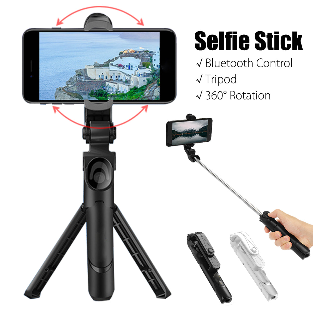 We Selfie™ 360 Degree Selfie Stick Tripod Desktop Phone Holder with Bluetooth Remote Control