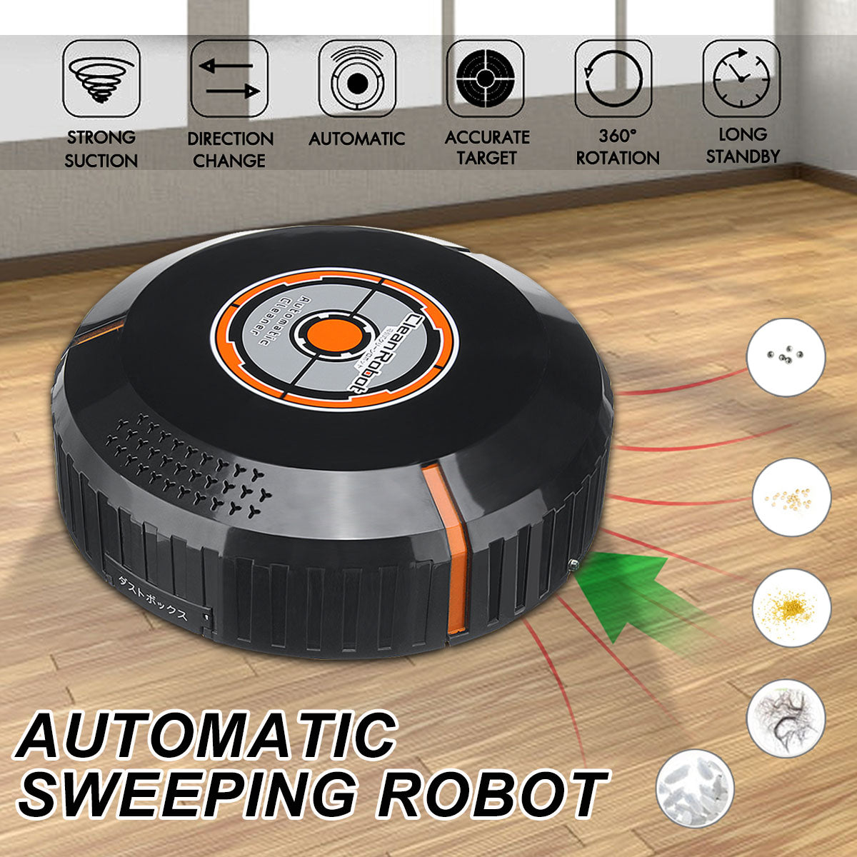 We Vacuum™ Automatic USB Rechargeable Smart Sweeping Robot Vacuum Floor Cleaner Sweeper Vacuum Cleaner - Black