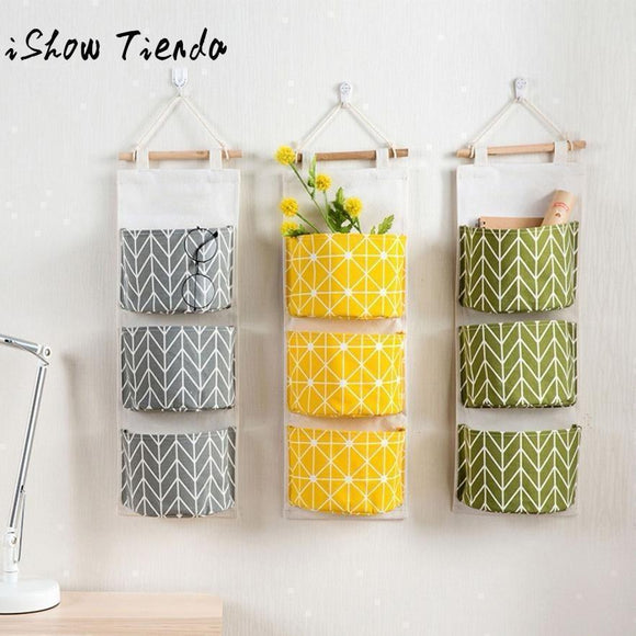 3 Grids Wall Hanging Storage Bag Organizer