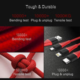3 IN 1 Durable USB Fast Charging Cable