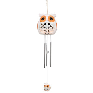 Ceramic Snowy Owl Windchime