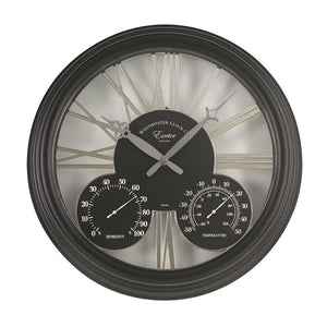 "Exeter Wall Clock and Thermometer 15"" Black"