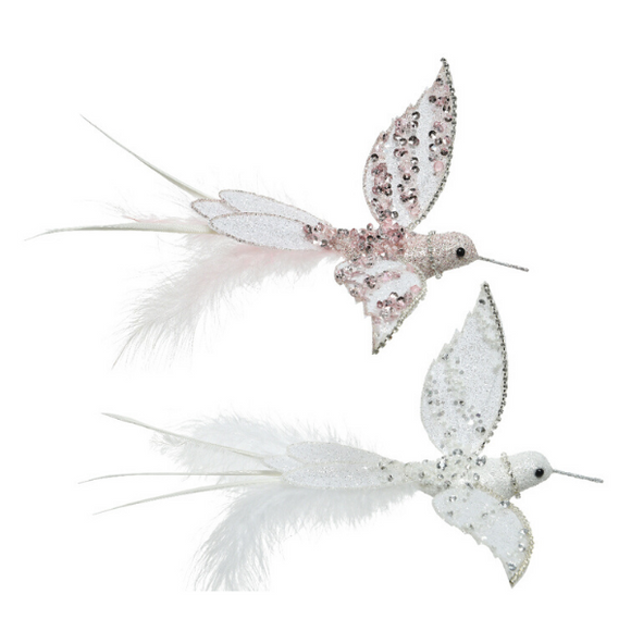 WHITE OR PINK HUMMINGBIRD CLIP TREE TRIM
