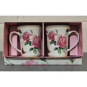 Redoute Rose Set of 2 Mugs