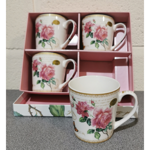 Redoute Rose Set of 4 Mugs