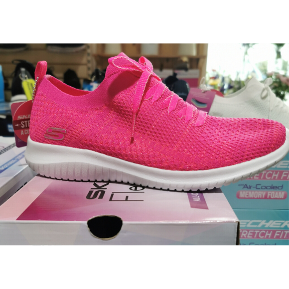Ladies Skechers Ultra Flex Sugar Bliss in Hot Pink