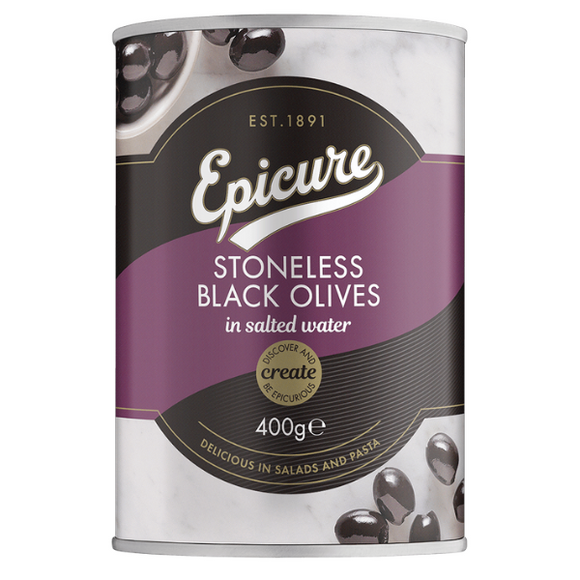 Epicure Stoneless Black Olives in Salted Water 400g