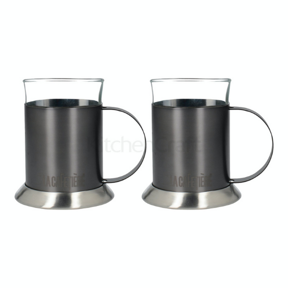 La Cafetiere 2 Gun Metal Grey Glass Cups