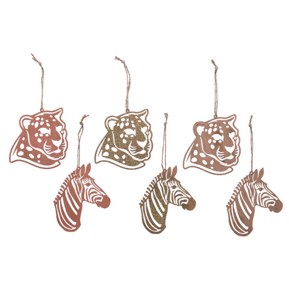 Set of 6 Iron Animal Head Tree Trim
