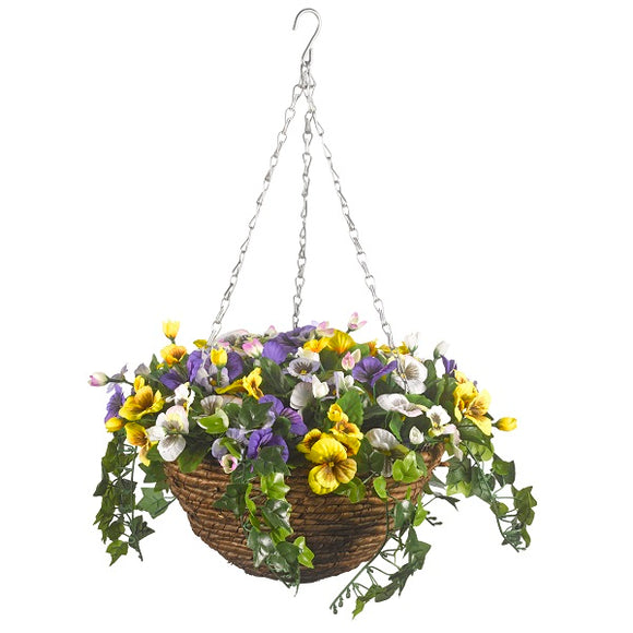 Artificial Pansy Hanging Basket