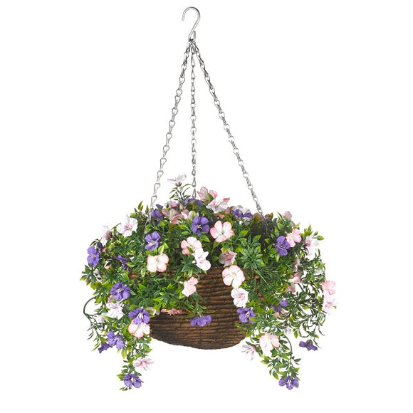 Artificial Petunia Hanging Basket