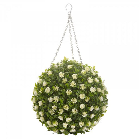 Artificial White  Rose Ball