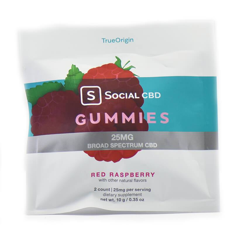 Social CBD - CBD Edible - Broad Spectrum Red Raspberry Gummies - 12.5mg