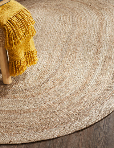 "Sun Braided Rugs 20"" x 30"" to 8'x10' Oval 100% Jute Material Collection"