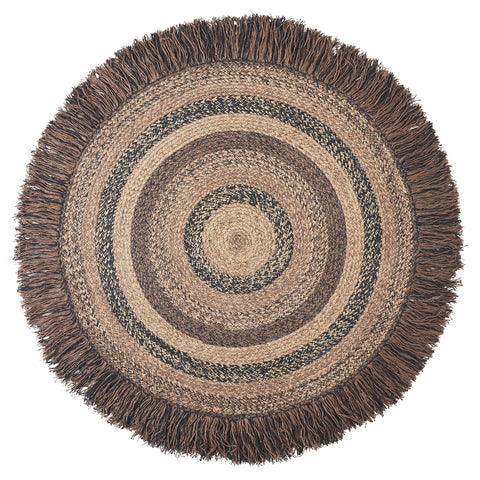 "Cappuccino, BR-201 24"" to 42""  Round Fringed Braided Rug"