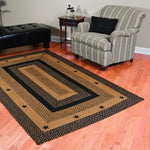 "Star Black Braided Rugs, BR-197 20""x30"" to 5'x8' Rect."