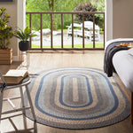 "Denim Braided Rugs 20"" x 30"" to 8'x10' Oval Natural Jute Material