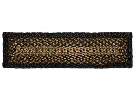 "Black Forest 8""x28"" Braided Stair Tread Rect- Set of 13, BR-251BSTR"