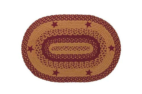 "Star Wine Braided Rugs ,BR-195 20""x30"" to 5'x8' Oval"