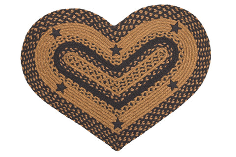 Star Black 20''x30' Heart Shaped Rug