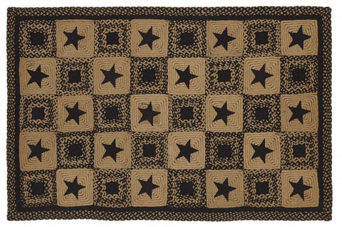 Country Star Black Rectangle Rug
