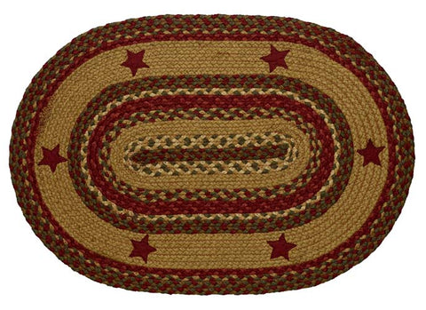 "Cinnamon Star Braided Rugs 20"" x 30"" to 8'x10' Oval Natural Jute Material