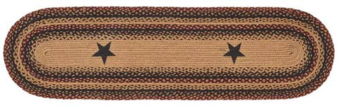 "Blackberry Star 13""x48"" Braided Table Runner, BR-263RUM"