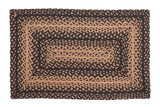 "Ebony Braided Rugs 20"" x 30"" to 8'x10' Rect. Natural Jute Material