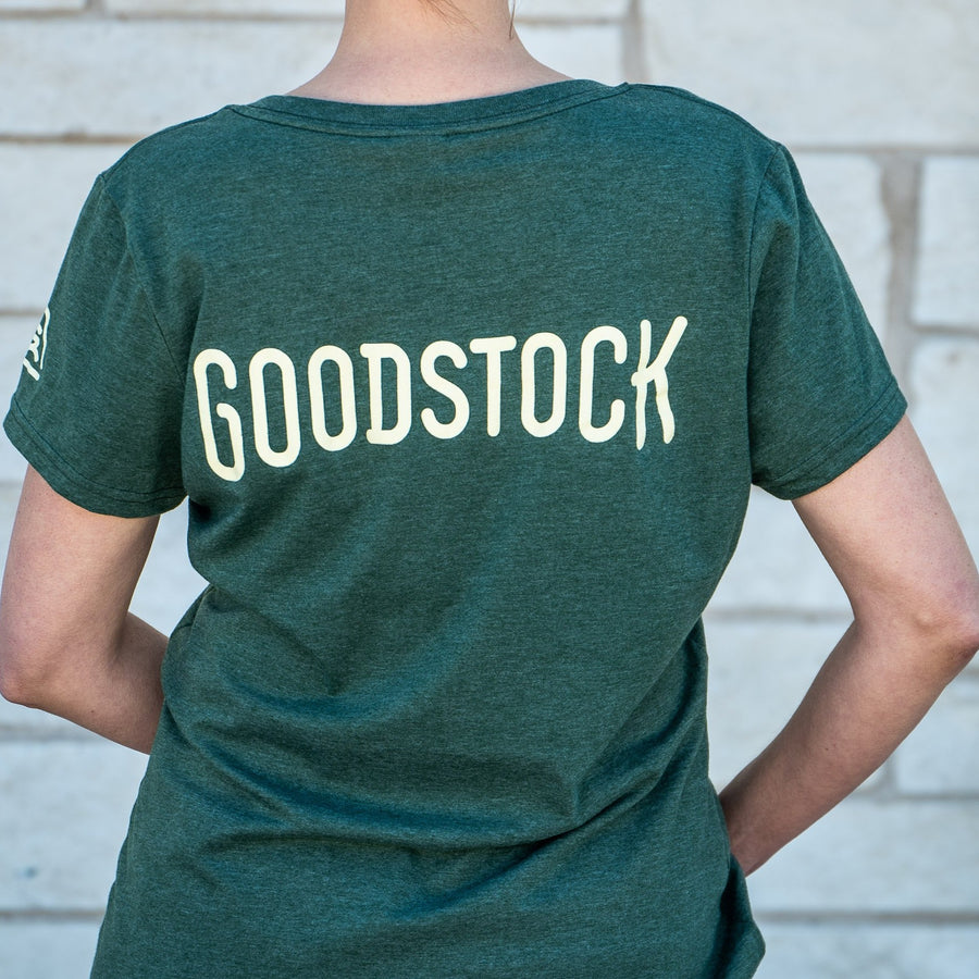 Goodstock Women's    V-Neck T-Shirt- Green