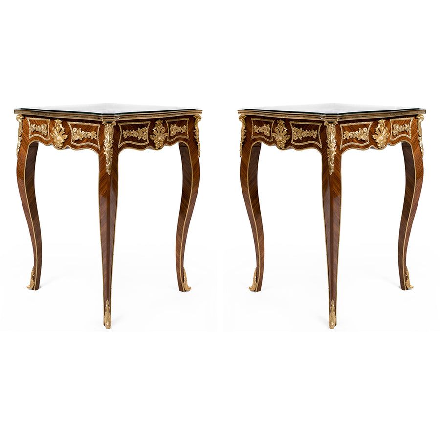 Pair of 19th century ormolu French-style side table (2 set)