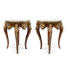 Louis XV style ormolu mounted and marquetry inlaid side table (2 set)