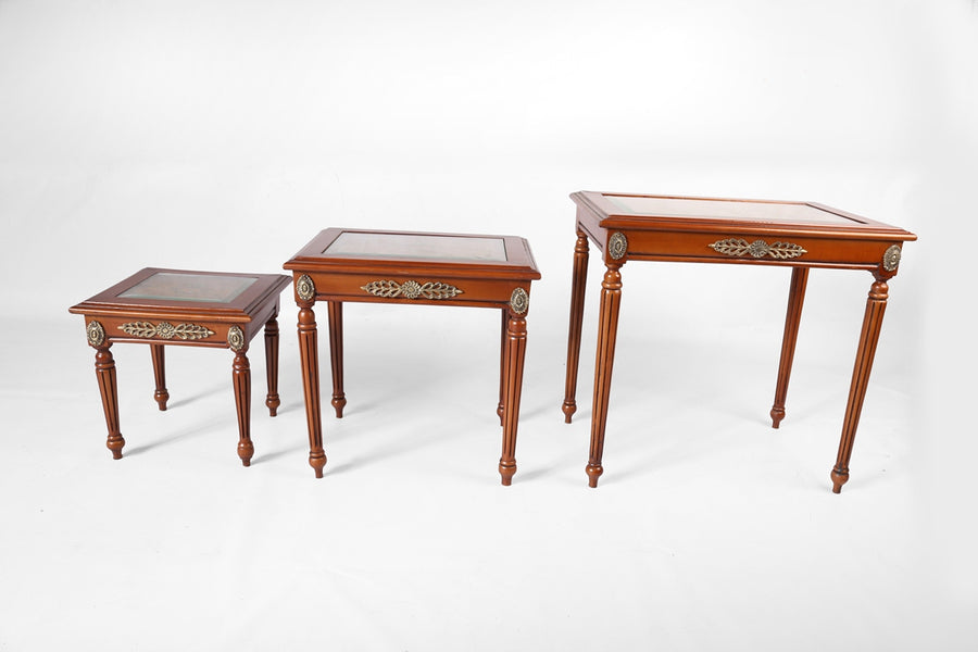 Louis XVI Classic Nesting Coffee Tables - hand drawn  (3 tables)