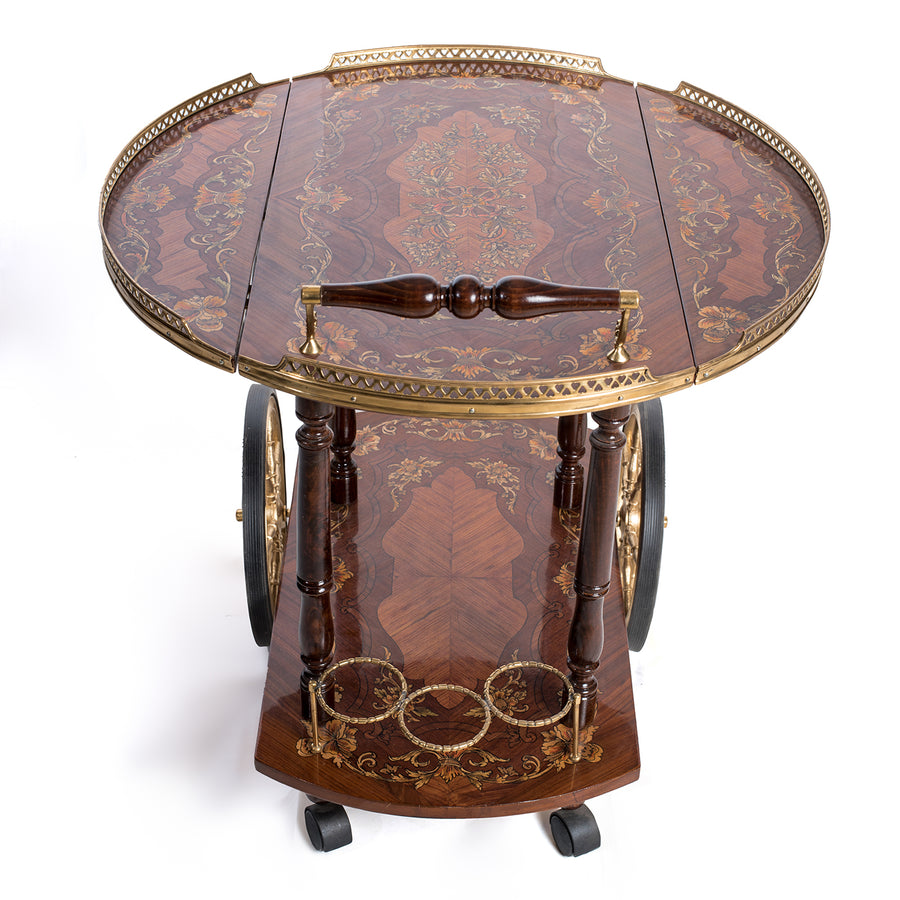 Italian Inlaid tea cart 19th century style