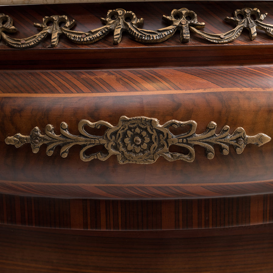 Marquetry inlaid half circle drawer chest