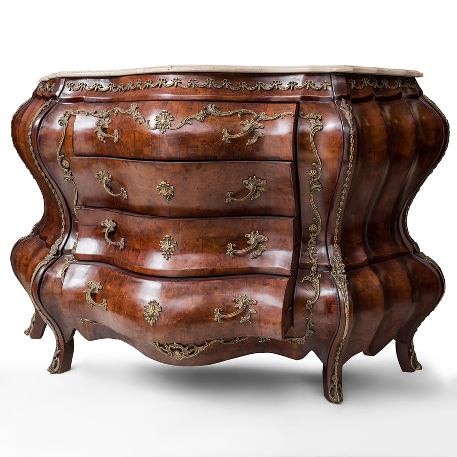 French Louis XV style bombe commode - side curved