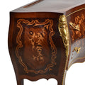 Bombe shaped Louis XV marquetry chest of drawer