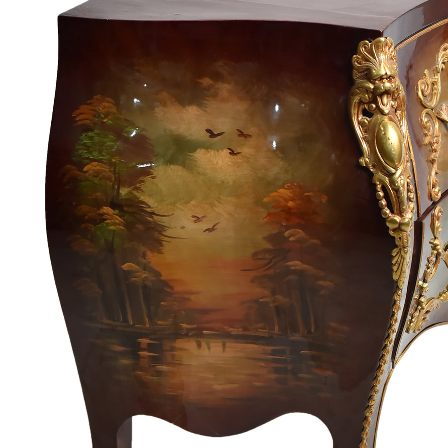 Hand painted Louis XIV style bombe commode