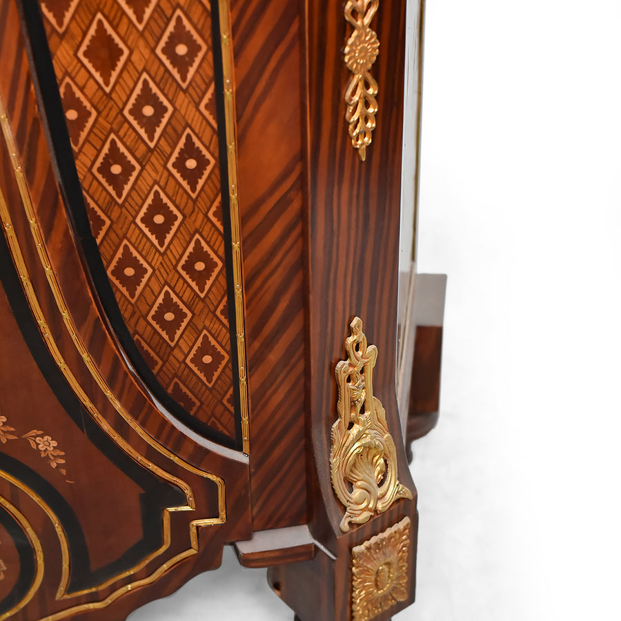 French mounted marquetry inlaid cabinet